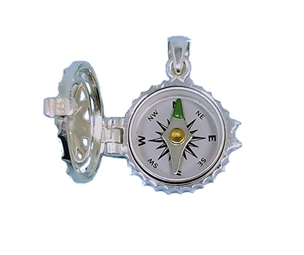 Stanley London Sterling Silver Compass Rose Locket with Working Compass