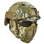 QZY Casque de Protection Airsoft Paintball ETS Casques Tactiques avec Masque de Maille en Acier Set de Jeux CS 8… 6
