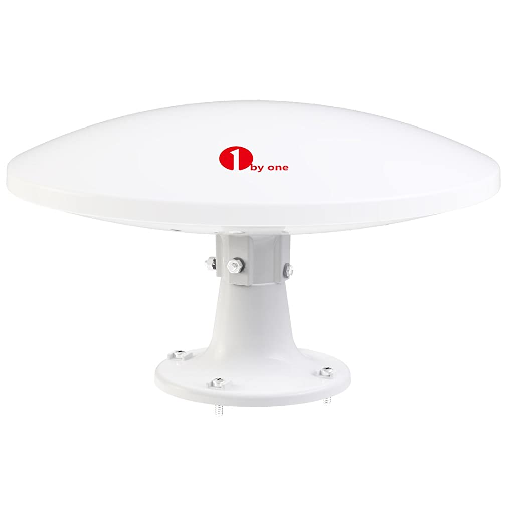 1byone Amplified RV Antenna with Omni-directional 360° Reception, 70 Miles Outdoor HDTV Antenna Caravan TV Antenna, Suitable for Both Outdoors and RVs, Anti-UV Coating ,Waterproof and Compact