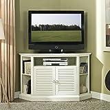 Walker Edison Furniture 52-Inch Wood Console Corner TV Stand, White