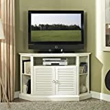 WE Furniture 52 Wood Corner TV Stand Console, White