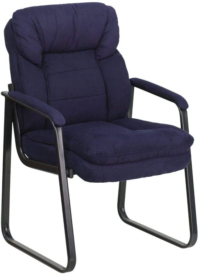 Flash Furniture Navy Microfiber Executive Side Reception Chair with Lumbar Support and Sled Base