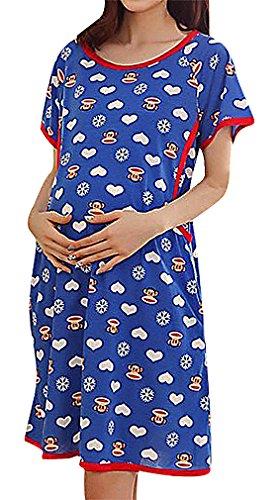 Hibukk Women's Playful Cute Cartoon Print Long Sleeve Breastfeeding Pyjamas, Monkey L,Manufacturer(XL)