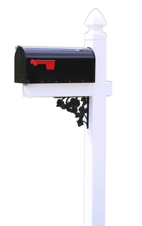 4EVER The Pocono Black Steel Mailbox with White Vinyl Post and Decorative Rose Bracket