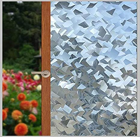3D Window Film Frosted Stained Glass Flower Static Cling Home Privacy Sticker ^
