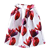URqueen Women's Retro Floral Printed Casual Midi A-line Skater Skirt