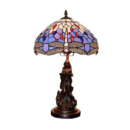 Tiffany Estilo Lámpara de mesa 12 Pulgadas Azul Abalorio Libélula ...