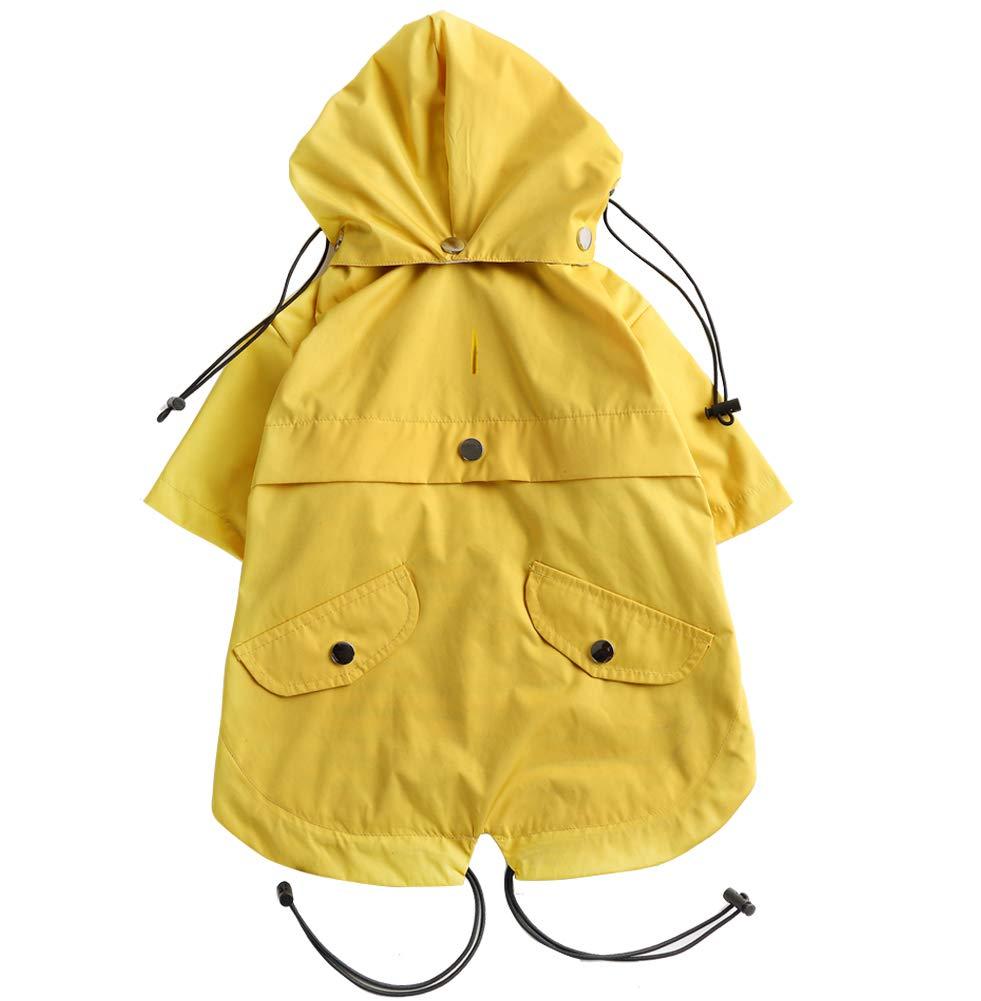 Rain//Water Resistant Small Red Removable Hood Adjustable Drawstring Stylish Premium Dog Raincoats Morezi Dog Zip Up Dog Raincoat with Reflective