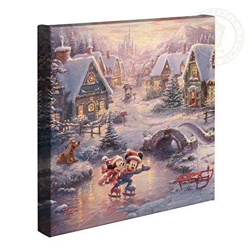 Thomas Kinkade Disney Mickey and Minnie Sweetheart Holiday