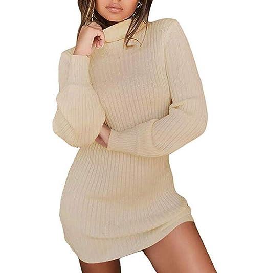 a3f7305464c hujukuludusu Women s Turtlrneck Long Sleeve Knit Bodycon Sweater Mini Dress  at Amazon Women s Clothing store