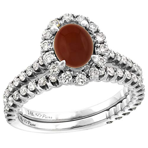 (14k White Gold Diamond Genuine Brown Agate Halo Engagement Ring Set 2 Piece Oval 7x5mm, size 7 )