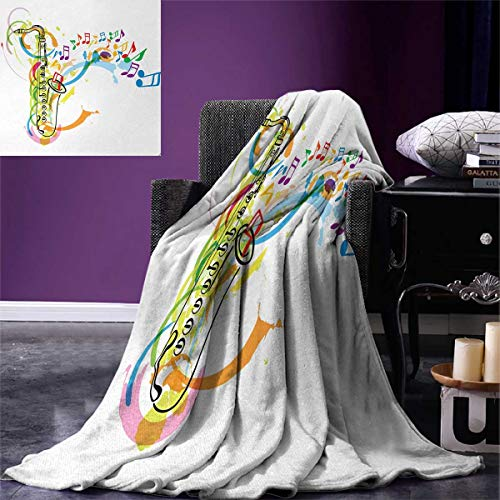 Anniutwo Music Travel Throw Blanket Colored Illustration Saxophone Wavy Notes in Air Fun Vibes Retro Boho Chic Velvet Plush Throw Blanket 60