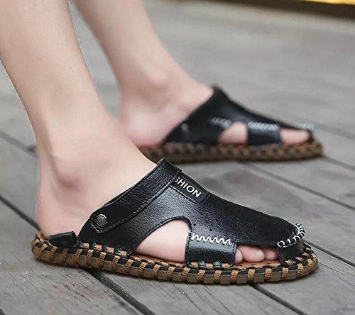 Xing Lin Flip Flop De La Playa Nuevo Hombre De Sandalias De Playa De Doble Uso Zapatos Verano Hombres Transpirable Zapatos Casual Zapatillas Sandalias Zapatos Marea De Hombres D93 black
