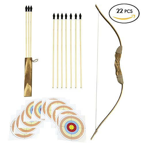 Archery Costume Ideas (Wooden Bow and Arrows | For Kids And Beginners - 22 Pieces Complete Kit | 34 Inch Bow & Ten 18 Inch Arrows & quiver & 10 Target Sheets | Rubber Arrowhead | Hand Crafted And Solid Wood | Archery Set)
