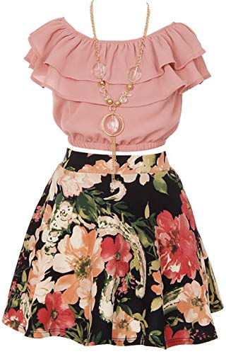 Shoulder Ruffle Layered Flower Skirt product image