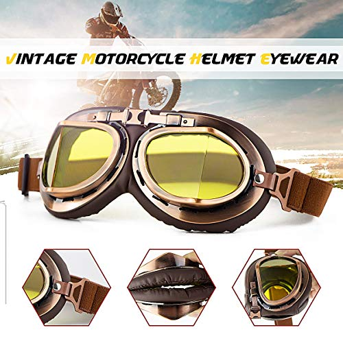 Universal Motorcycle Goggles Glasses Retro Vintage Classic Helmet Goggles For Steampunk ATV Bike Copper (Vintage Full Face Motorcycle Helmets For Sale)