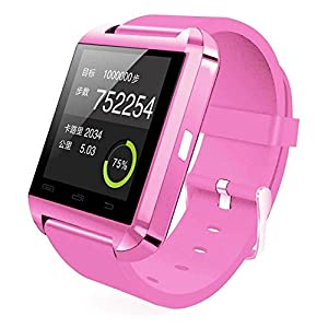 Colofan Smartwatch Luxury U8 Bluetooth Smart Watch WristWatch Phone with Camera Touch Screen for IOS Iphone Android Smartphone Samsung Smartphone (pink)