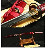 DAMASCUS FOLDED STEEL CLAY TEMPERED HANDMADE JAPANESE KATANA SWORD MOSAIC SHELLS SAYA