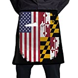 Shopping8Now Women/Men Short Aprons Maryland Flag American Flag Supermarket Overalls Sleeveless Anti-Fouling Overalls Portable Pocket Design