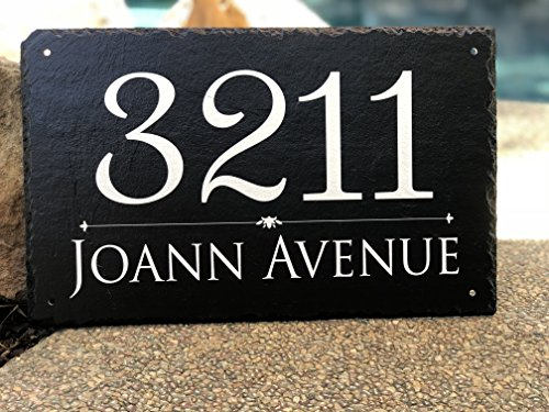"Beautifully Handcrafted and Customizable Slate Home Address Plaque (16""x10"" 12''x6'' or 18""x8"") Personalized House Sign with and mounting hardware. Improve the curb appeal of your property by Sassy Squirrel (Image #2)"