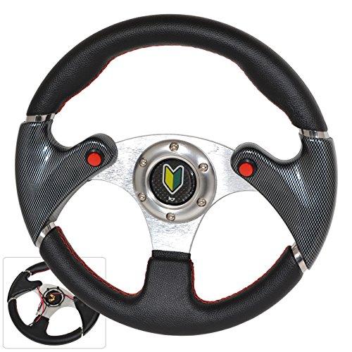Universal 6 Bolt Hole 320MM 3 Spokes PVC Leather Carbon Fiber Nos Button Steering Wheel Jdm Wakaba (Carbon Fiber Spokes)