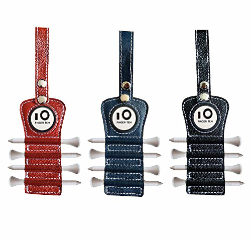 Ball Marker Holder - Golf Tee Holder with Free Ball Marker and 4 Pcs Wood Tees Pack, Luxury Leather Gift Hook to Golf Bag Belt Clip, By Finger Ten (Navy)