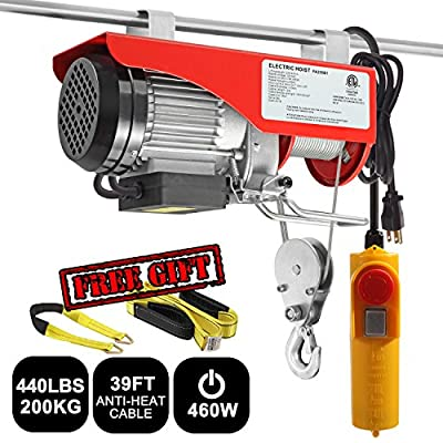 """Partsam 440 lbs Lift Electric Hoist Crane Remote Control Power System, Zinc-Plated Steel Wire Overhead Crane Garage Ceiling Pulley Winch with Premium 6'x2"""" & 36""""x2"""" Lift Sling"""