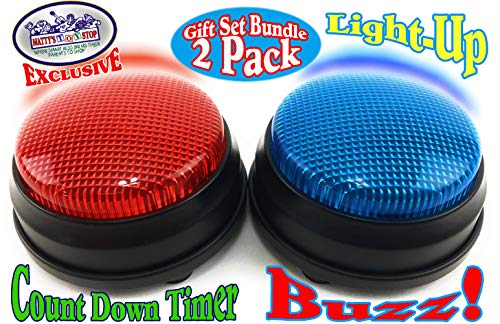 Matty's Toy Stop Lights & Sounds Electronic 3 Mode Red & Blue Game Answer Buzzer and Count Down Timer Gift Set Bundle (Perfect for Games, Classrooms, etc.) - 2 Pack - Game Show Buzzer