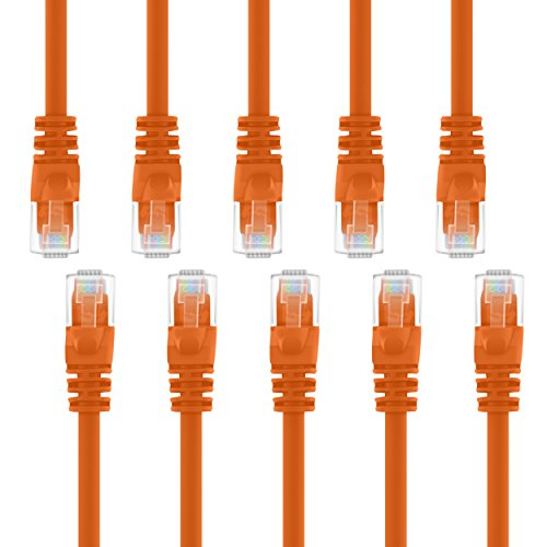 GearIT 10 Pack, Cat 6 Ethernet Cable Cat6 Snagless Patch 3 Feet - Computer LAN Network Cord, Orange - Compatible with 10 Port Switch POE 10port Gigabit
