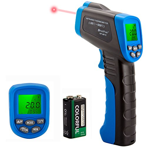 HOLDPEAK 981C Non-Contact Digital Laser Infrared Thermometer Temperature Gun Instant-read -58 to 1022℉ (-50 to 550℃) with 9V Battery and Emissivity 0.1-1.0(Adjustable) (Gun Laser Thermometer)