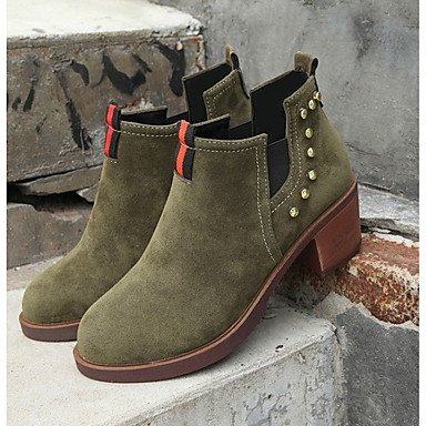 Combat EU39 Fall RTRY Round Women's Chunky For Boots Boots US8 Casual Heel Toe Beading Suede Black Brown Green Shoes UK6 CN39 nqUgpwIU