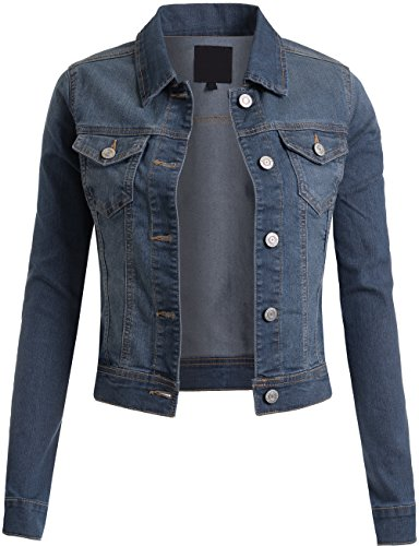 - BEKTOME Womens Classic Vintage Long Sleeve Denim Jacket with Pockets-S-MED_Blue