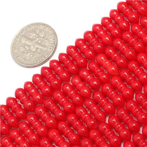 Rows Red Coral Bracelet (GEM-inside 4x11MM Pretty Three Rows White Red Coral Loose Beads For Jewelry Making Beads 15 Inch)