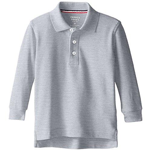 (French Toast School Uniform Boys Long Sleeve Pique Polo Shirt, Gray, Large (10/12))