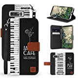 Galaxy Note 8 Case, Trishield Gear Dual Layer Black Synthetic Leather Magnetic Closure Flip Wallet Cover With Kickstand Wrist Strap - Piano Keyboard - Jazz