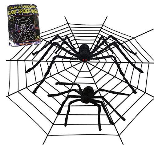 3pcs Scary Halloween Spider Web Set, 2 Big Spiders 50&35 inches One 12FT Web Decorations Creepy Decor Halloween Party Door Window Outdoor Indoor -