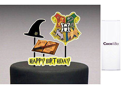 1 x Coco&Bo - Magical Wizarding Hogwarts School Cake Topper - Happy Birthday - Harry Potter Theme Hogwarts Houses Party Table Decorations & Cake Accessories