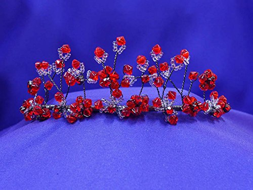 Red floral Colored Crystal Tiara