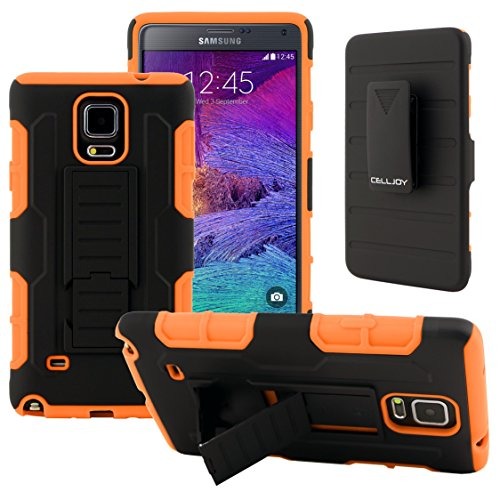 Galaxy Note 4 Case, CellJoy [Robot Armor] Hybrid Kick Stand Case with Belt Clip Holster For Samsung Galaxy Note 4 IV N910, Heavy Duty ProtectionShockproof (Orange)