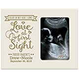 Personalized New Baby Sonogram picture frame for boys and girls Love at first sight Ultrasound photo frame for new Expectant Mothers parents nana,mimi and grandparents (Ivory)