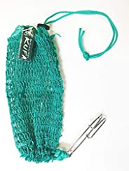 KUFA Sports Commercial Style Crab Trap Bait Bag with Rubber Locker and Stainless Steel Hook Bag-7, Green, Larg