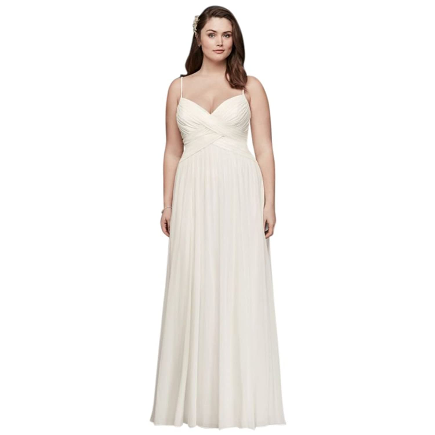 Davids bridal plus size long sleeve wedding dress with low back davids bridal ruched bodice chiffon plus size wedding dress style 9wg3856 ombrellifo Image collections