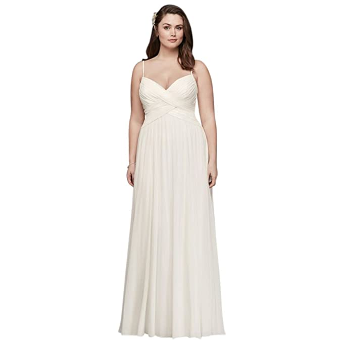 David\'s Bridal Ruched Bodice Chiffon Plus Size Wedding Dress Style 9WG3856