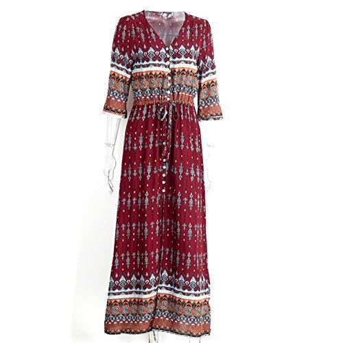 5G0RLKUY8 Fashion imprimir sexy dress botão dividir maxi dress causal outono das mulheres do vintage com tiras long beach dress (Yakima Wa Stores)