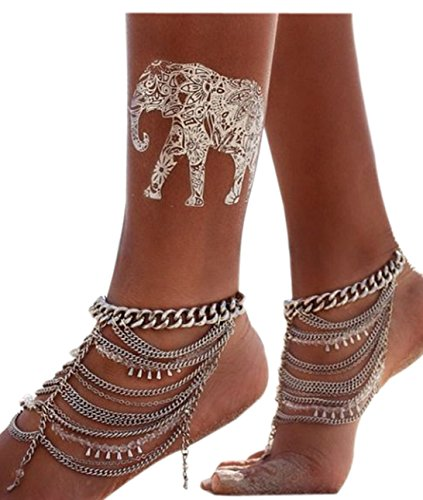[Cougar's Choice Multilayer Crystal Beaded Chain Drop Tassels Anklet Chain Foot Jewelry (1 PCS)] (Indian Beaded Bracelet)