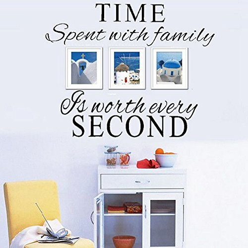 Time Spent With Family Best Black Quote Removable Home Room Decoration Wall Sticker Free Shipping