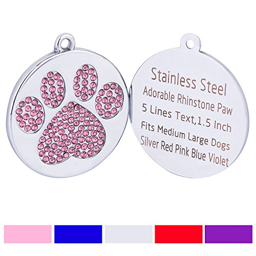 Taglory Stainless Steel Pet ID Tags | Laser Engraved Custom Dog Tags | Crystal Rhinestone Studded Paw Print | 1.5