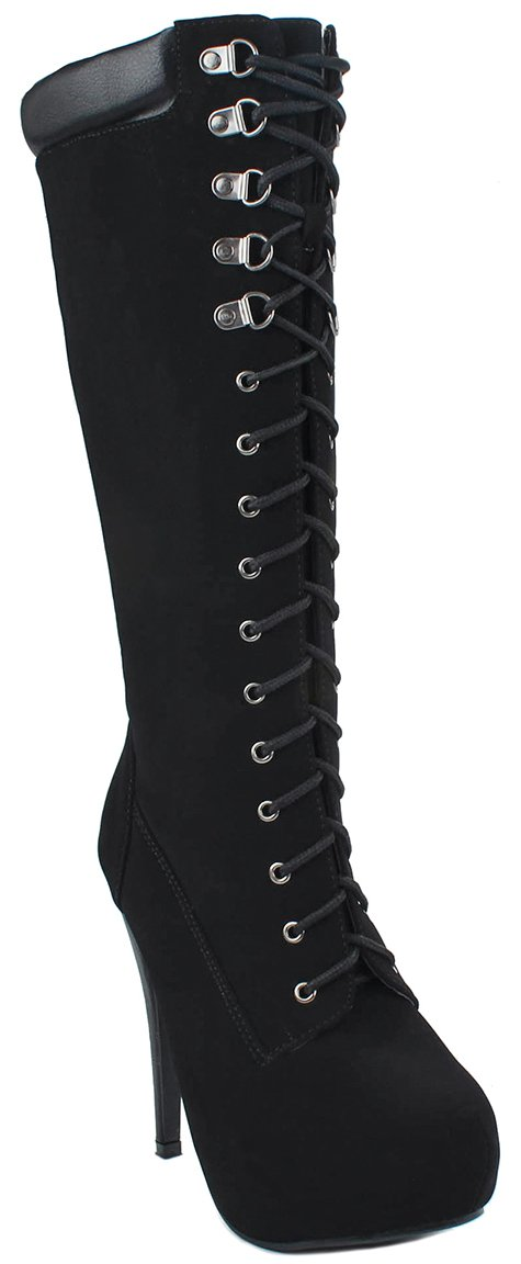 Forever Black Lace Up Top Knee High Military Combat High Heel Platform Tall Boots-7