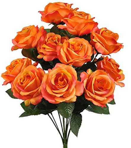 1 Bouquet of Burnt Orange ~ 12 Open Long Stem Roses Silk Wedding Decoration Flowers Artificial Arrangement Bridal Bouquets -