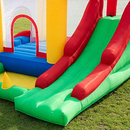 Costzon Inflatable Bounce House, Mighty Balloon Double Slide Bouncer with Basketball Hoop, Climbing Wall, Large Jumping Area, Ideal Kids Jumper (Without Blower) by Costzon (Image #4)